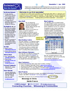 Download Newsletter 1 - Jan 2009